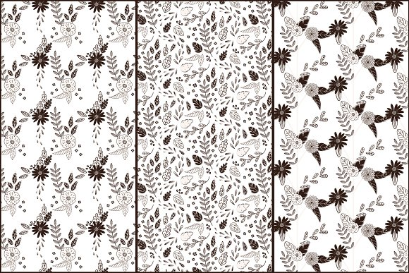 Black white flowers and leaves graphic patterns creative market mightylinksfo