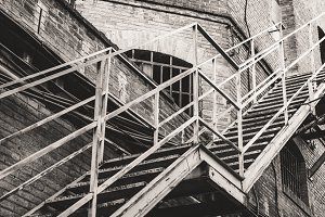 Metal stairs of an old factory