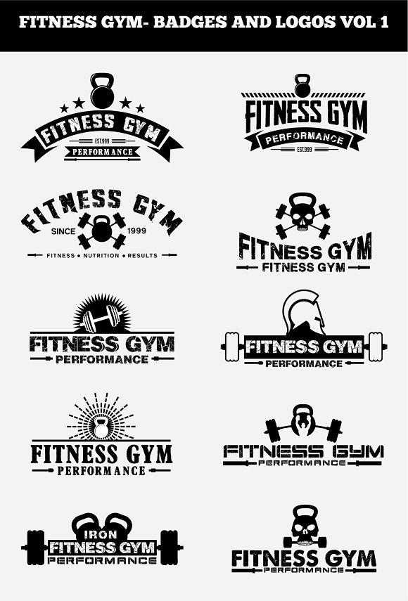 FITNESS GYM- BADGES AND LOGOS VOL 1