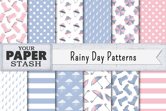 Rainy Day Digital Paper Backgrounds