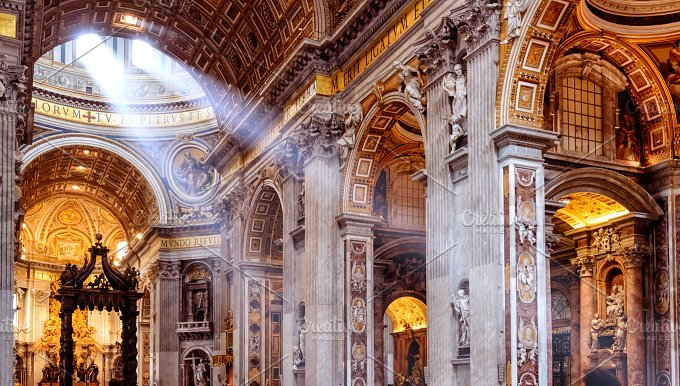 Inside the St. Peter's Basilica - Architecture