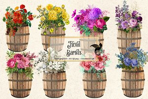Floral Barrel Clipart