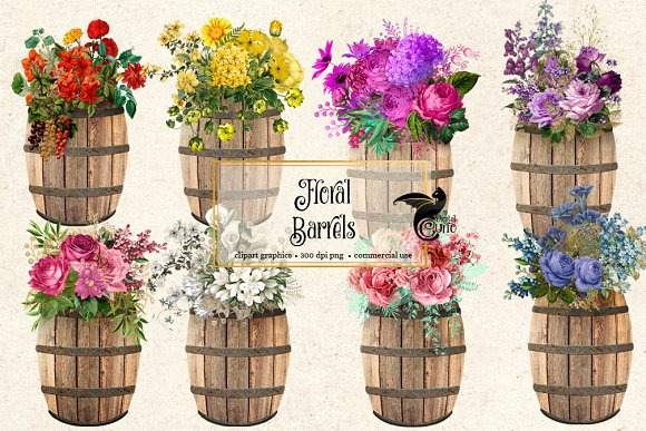 Floral Barrel Clipart