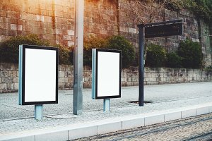 Template of two banners, tram stop