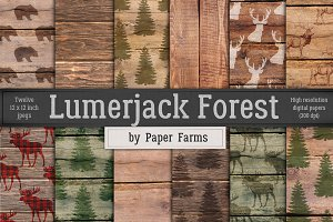 Lumberjack forest digital paper