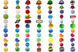 77 png colorful Badges+PSD Format