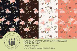 Hand Drawn Chrysanthemums Paper Pack