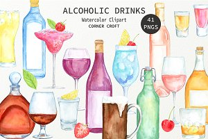 Watercolor Alcoholic Drinks