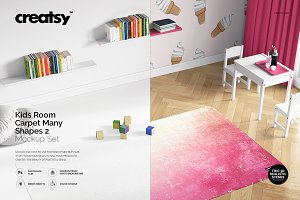 Kids Room Carpet Mockup Set 2