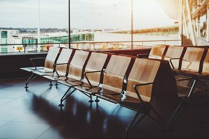 Seats row in airport departure area