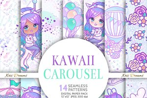Kawaii Carousel Digital Paper