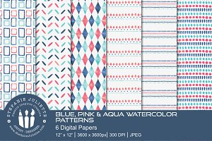Blue, Pink & Aqua Watercolor Pattern