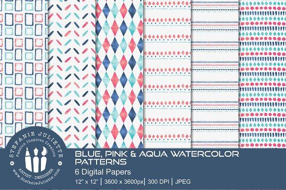 Blue, Pink & Aqua Watercolor Pattern
