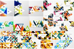 Set of geometric abstract backgrounds - squares and triangles