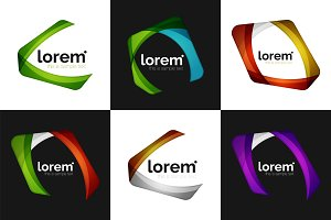 Set of vector overlapping shapes business emblems