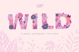 Floral Alphabet Letters -  Wild