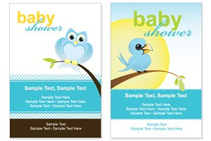 Bird baby shower vector cards