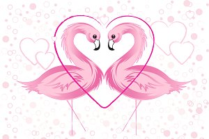Pink Flamingo and Hearts
