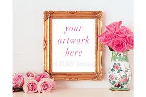 Valentine's Gold Frame, Roses Mockup