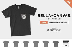 Bella Canvas 3021 Pocket Tee Mockups