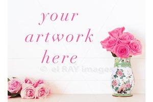 Valentine's Roses Blank Wall Mockup
