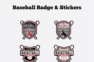 Baseball Badge & Stickers Vol4