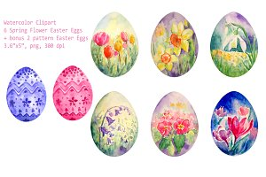 Watercolor Spring Flower Easter Eggs