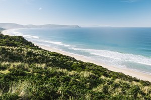 View of Bruny Island beach in the af