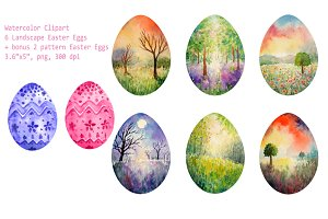 Watercolor Lanscape Easter Eggs