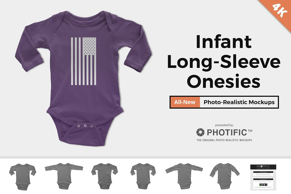 Infant Long Sleeve Onesie Mockups in Product Mockups