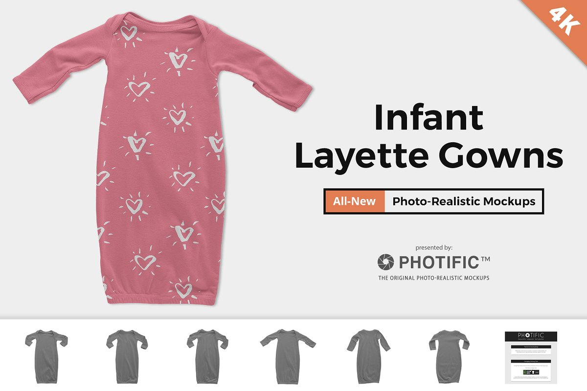 Infant Layette Gown Mockups