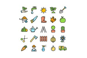 Gardening Signs Icon Set. Vector