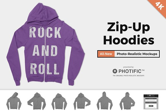 Zip-Up Hoodie Sweatshirt Mockups