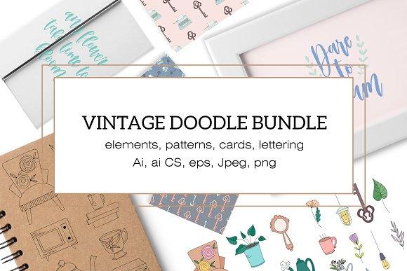 Vintage doodle bundle. Patterns+