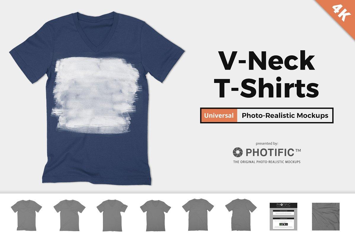361d60bb V-Neck T-Shirt Apparel Mockups ~ Product Mockups ~ Creative Market
