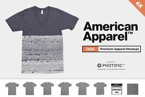 American Apparel 2456 V-Neck Mockups