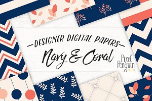 Navy & Coral Patterns