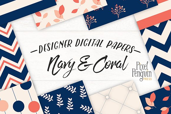 Navy Coral Patterns