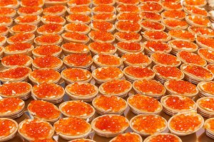 Caviar in plates.
