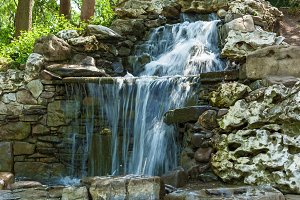 Waterfall with stones.
