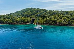 Catamaran near the island.
