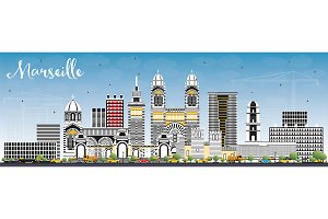 Marseille France City Skyline
