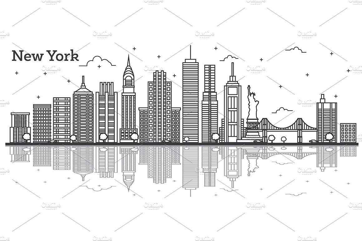 Outline New York USA City Skyline ~ Illustrations
