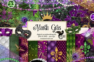 Mardi Gras Digital Scrapbook Kit