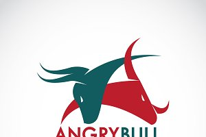 Vector of angry bull. Logo Animal.