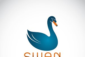 Vector of blue swan design. Bird.