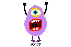 Cute violet monster print for t-shirt