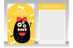 Cute yellow notebook template with monster