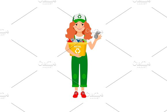 Redhead Girl Learning Recycle Trash