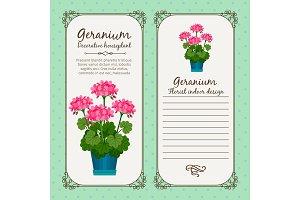 Vintage label with geranium plant
